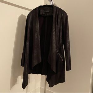 Zara Medium Black Cardigan Jacket Faux Leather